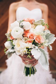 peach and white bouquet of roses, garden roses, freesia, astilbe, dusty miller and ranunculus