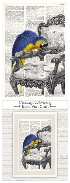 Dictionary Art Printed On Vintage Dictionary Page. Macaw Parrot and Chair #038…