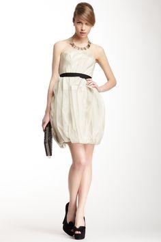 Vera Wang Stretch Satin Ruffle Bottom Dress