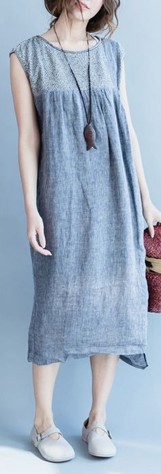 new fine linen gray linen patchwork asymmetric maxi dress