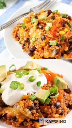quinoa recipes A healthy and delicious meal that will become a staple at your house! This black bean quinoa casserole is a Mexican food with bright colors! Satisfy your Mexican cravings with this Black Bean Quinoa Enchilada bake! Save this pin for later! Mexican Food Recipes, Vegetarian Recipes, Cooking Recipes, Healthy Recipes, Healthy Mexican Food, Healthy Quinoa Recipes, Mexican Beans Recipe, Vegetarian Quinoa Recipes, Cooking Tips