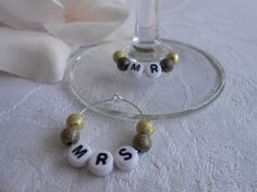 "Metallic weeding wine glass charms - ""Mr"" & ""Mrs"" - available in other colours too"