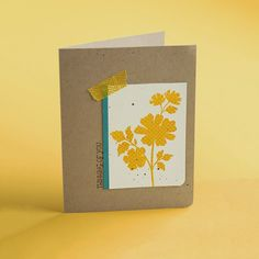Stampin' Up! ... hand crafted card from Klompen Stampers (Stampin' Up! Demonstrator Jackie Bolhuis) ... kraft base ... panel of vanilla with yellow polka dot silhouette flowers ... like the clean lines and bit of washi in matching yellow ...