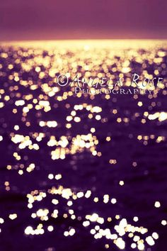 Abstract Ocean Photography, Twilight Sparkle, Infrared Photography, Ocean Art Purple Pink Gold Yellow Large Wall Art Bokeh Sea wall decor - pinned by pin4etsy.com