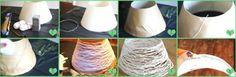 Pantalla para lámpara hecha con hilo