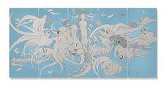 Yoshitaka Amano Sandman | Yoshitaka Amano Creation - 2009 Mixed media on aluminium 240 x 500 x ...