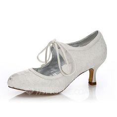 b4d40bbd537  US  54.99  Women s Lace Satin Low Heel Closed Toe Pumps Dyeable Shoes