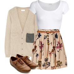 :) #oxfords #pattern #skirt #cardigan #fall