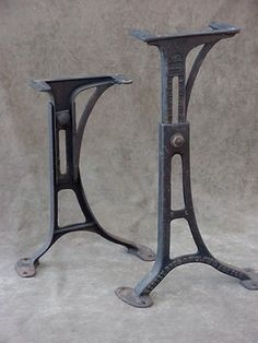 Vintage Machine Age Industrial Adjustable Cast Iron Table Legs Kenny Bros  Usa