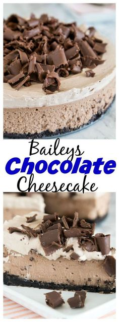 Baileys Chocolate Cheesecake – a rich and creamy chocolate cheesecake with the great taste of Baileys Irish Cream. Topped with Baileys whipped cre… | Pinterest