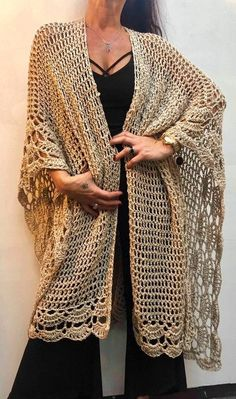 Lotus Blossom Crochet Poncho in Tahki Yarns Cotton Classic Lite Crochet Wrap Pattern, Crochet Coat, Crochet Cardigan, Love Crochet, Crochet Scarves, Beautiful Crochet, Crochet Clothes, Crochet Lace, Crochet Stitches