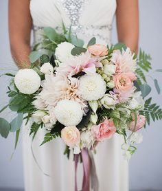 romantic modern bouquet: dahlias, ranunculus, fern and eucalyptus