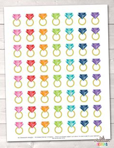 Gold Rings Printable Planner Stickers – Instant Download PDF for your Erin Condren Life Planner
