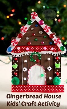 Kids' gingerbread house craft made with popsicle sticks and non-food items from the craft box. This is a big kid activity that will hold their attention! Includes a story to accompany the craft.