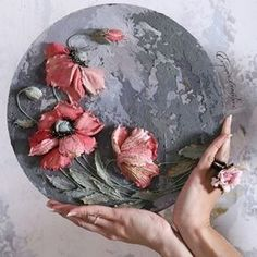 Sculpting a flower with painting by Evgenia Ermilova Sculpture Painting, Wall Sculptures, Decoupage Plates, Cold Porcelain Flowers, Plaster Art, Shell Art, Arte Floral, Deco Table, Texture Painting