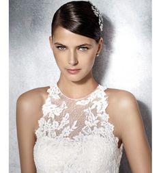 Jensen, Vestido de novia White One de encaje con cuello halter