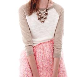 Pink sequin skirt + a baseball tee