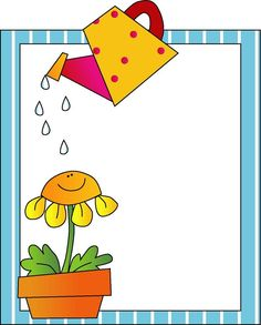 Flower and watering can frame Picture Borders, Page Borders, Borders For Paper, Borders And Frames, School Frame, Hello Kitty Birthday, Quilt Labels, Clip Art, Label Paper