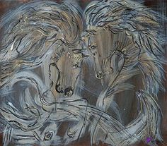 """artiazza. HORSES by Rimute Balniene; Acrylic and paper painting. """"Power of Love."""" #art #horses"""