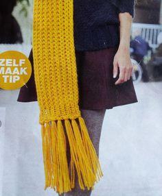 Wollen sjaal breien in patentsteek en dikke breipen - Hobby Knitting Patterns, Crochet Patterns, Handmade Scarves, Knit Cowl, Knitted Throws, Crochet Scarves, Knitting Scarves, Diy Crochet, Diy Fashion