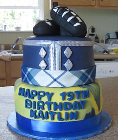 Highland Dance / School Colors Cake This cake was inspired by the recipient's love of highland dance and her current university's. Celtic Food, Scottish Highland Dance, Dance Cakes, Dance Gifts, Colorful Cakes, Food Crafts, School Colors, Cupcake Cakes, Cupcakes