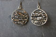 Hammered and wrapped sterling silver hoops, by Cindy Larson Accessories