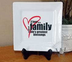 Family Vinyl Lettering Square Plate by KWintersDesigns on Etsy, $20.00