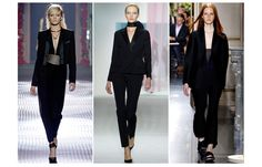 Tuxedos    Masculine/feminine androgyny continues to inspire designers, and we certainly haven't seen the last of the tuxedo. A classic trend revisited on the runway in black and sometimes in white, for a Newton-like silhouette.    Lanvin, Christian Dior and Céline