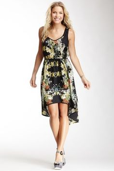 Flower Print Hi-Lo Dress