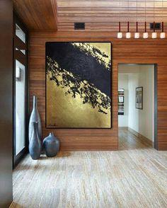 Enorme dipinto pittura oro & nero pittura tela fatto a