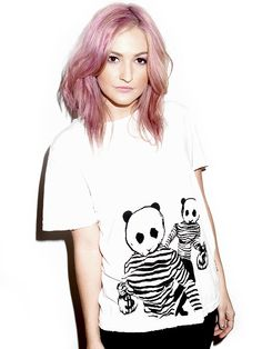 Pinned for her hair, but look at that awesome Panda on her shirt! #panda #illustration #design