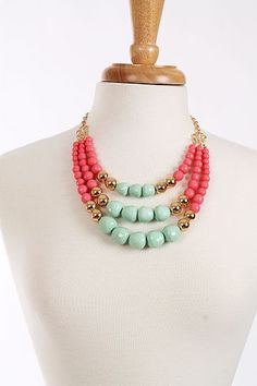 Triple Beaded Necklace, Mint