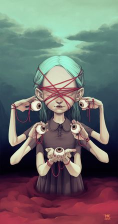 Tiia Reijonen #art #illustration #digital #painting #surreal #fantasy #eyeball #girl #horror