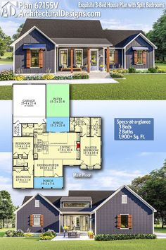 Architectural Designs Home Plan gives you 3 bedrooms, 2 baths and sq. Where do YOU want to build? Architectural Designs Home Plan gives you 3 bedrooms, 2 baths and sq. Where do YOU want to build? Ranch House Plans, Bedroom House Plans, New House Plans, Dream House Plans, Small House Plans, House Floor Plans, My Dream Home, Dream Houses, Sims 3 Houses Plans