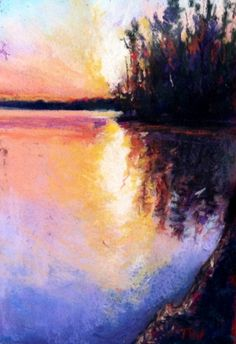 Sunset Reflections on the Hudson - Framed Original Hudson River Sunset Pastel, painting by artist Takeyce Walter