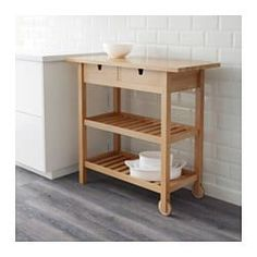 IKEA - FÖRHÖJA, Kitchen trolley, birch, Gives you extra storage in your kitchen. You can quickly view and access what's inside because the drawers can be pulled out from both sides. Open storage with space for 9 bottles on each shelf. First Apartment, Apartment Kitchen, Kitchen Island Cart, Ikea Kitchen Trolley, Kitchen Dining, Home And Deco, Küchen Design, Extra Storage, Kitchen Furniture