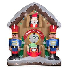 Decorate your yard for the holidays in a festive and fun way with an Animated Inflatable Santa Clock Scene Holiday Lawn Ornament. Stake it in place, then plug in the blower and enjoy watching it inflate and light up to bring holiday fun to your home.