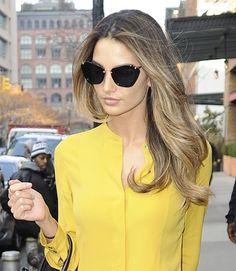 Lily Aldridge - Miu Miu sunglasses + cheery yellow blouse