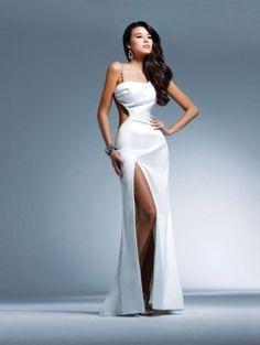 White Straps Long/Floor-length Graduation Backless Prom Dress PD094D