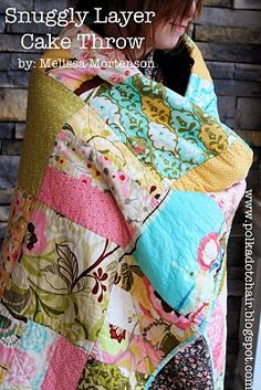 "Easy quilted layer cake throw. @Regina Espinoza - that looks like my next super easy baby quilt. Punch me if I ever say ""postage stamp"" quilt again."