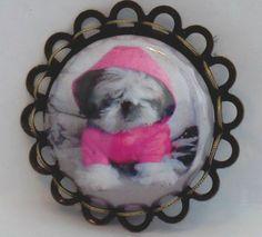 Dog ShihTzu Hoodie Brooch Pin Unique Jewelry Button Antique Gold