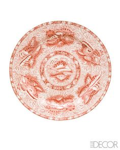 Coral Torquay earthenware dinner plate by Mottahedeh