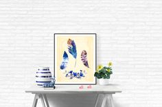 Rustic Feathers Print Printable Feathers Art by LeelaPrintableArt