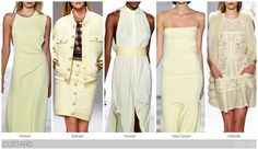 Top 10 Women's colors for Spring / Summer 2015, by Fashion Snoops. Pastel yellow is whited out into a new custard shade.