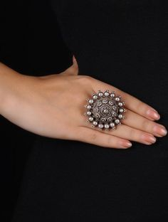 Tribal Floral Silver Ring (Ring Size - 7.5)