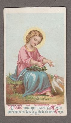 HOLY DOVE CHILD JESUS antique small holy card Edit by Bouasse Paris