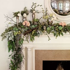 Top Your Mantel with Winter Blooms - 101 fresh christmas decorating ideas - Southern Living Beautiful garland Christmas Greenery, Christmas Mantels, Christmas Holidays, Christmas Wreaths, Christmas Decorations, Holiday Decor, Christmas Tree, Christmas Fireplace Garland, Fall Mantels