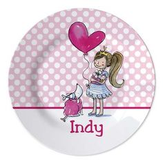 Kid's plate with a little girl and a name, cute personalized present for kids www.studiokidsdesign.co.uk