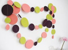~ Coral Green Aubergine Paper Garland, Kids Room Decor ~  You can decorate any space with it - not only the party walls or table, but your kids room, living room or even your workspace. This totally handmade paper garland consists of numerous circles, made of coral, green and aubergine cardstock, stitched together with threat in suitable color.  ----- Size of the circles: 8cm, 6cm and 4cm Length: You can choose the length and quantities from the drop-down menu -----  Each garland comes with…