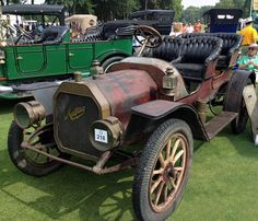 1910 Maytag Runabout in original, unrestored condition. The Maytag-Mason Motor Company of Waterloo, Iowa manufactured Maytag automobiles from 1910 to 1915. The company's founder was Frederick Louis Maytag I, who is better known for his development of the Maytag washing machine company.He bought the Mason Automobile Co. in 1909 and then sold his interest.The company went bankrupt in 1915 and was totally out of business by 1917. Approximately 1,500 cars were built.